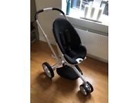 Quinny Moodd Black Irony Pram with Collapsable Carrycot and accessories