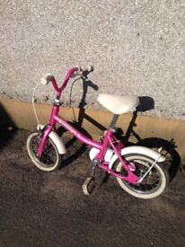 For sale a lovely PINK childs girls bike by Raleigh