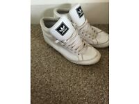 ADIDAS LEATHER HI-TOP White Trainers/Sneakers/Size UK7/ US7 1/2