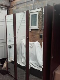2x triple mahagony mirrored wardrobes -Ramsgate