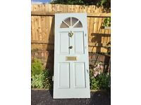 Excellent condition slate grey wooden front door, includes locks and complete set of 3 keys