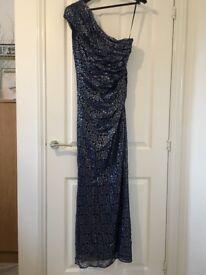 Myleene Klass navy blue and silver one-shoulder full length formal dress in size 10-12