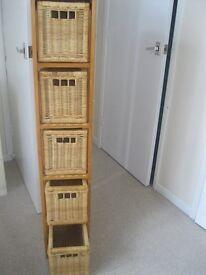 Five Draw storage unit Wood frame cane baskets