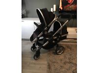 Icandy Black peach pushchair Pram converter package with additional seat unit.