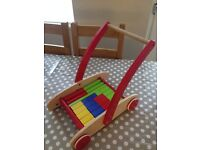 For Sale - Wooden push along Walker with Blocks - £5