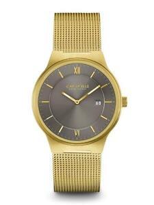 Caravelle 44B110 Men's New York Grey Dial Yellow Gold Steel Mesh Bracelet Watch