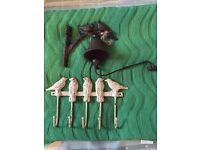 Garden birds& twig branch pretty ornaments.nesting.metal hooks & bell.iron?Decorative,vintage style