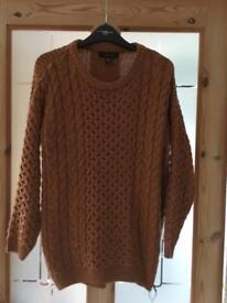 Tan chunky knit jumper size 10