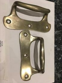 Original Pair of brass sash lifts.
