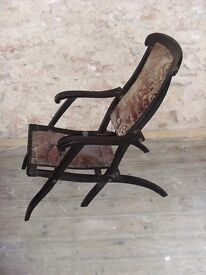 Vintage Ebonised Folding Steamer Type Chair