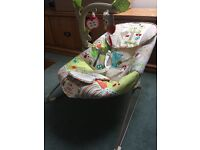 Fisher Price 'Calming Vibrations' musical, vibrating, bouncy chair. Barely used. £30