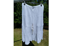 Monsoon White Cheesecloth Skirt (L)