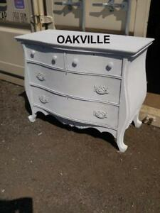 DRESSER Shabby Chic White Chest of Drawers Painted Curvy French Provincial Mediterranean Clothes Clothing Storage Retro