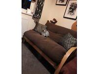 Tri Fold Double Wooden Sofa Bed Futon in Brown Chenille