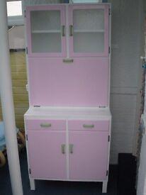 Vintage/Retro 50s/60s Kitchen Dresser/ Larder Unit – Pink/White - Ideal for beach hut.