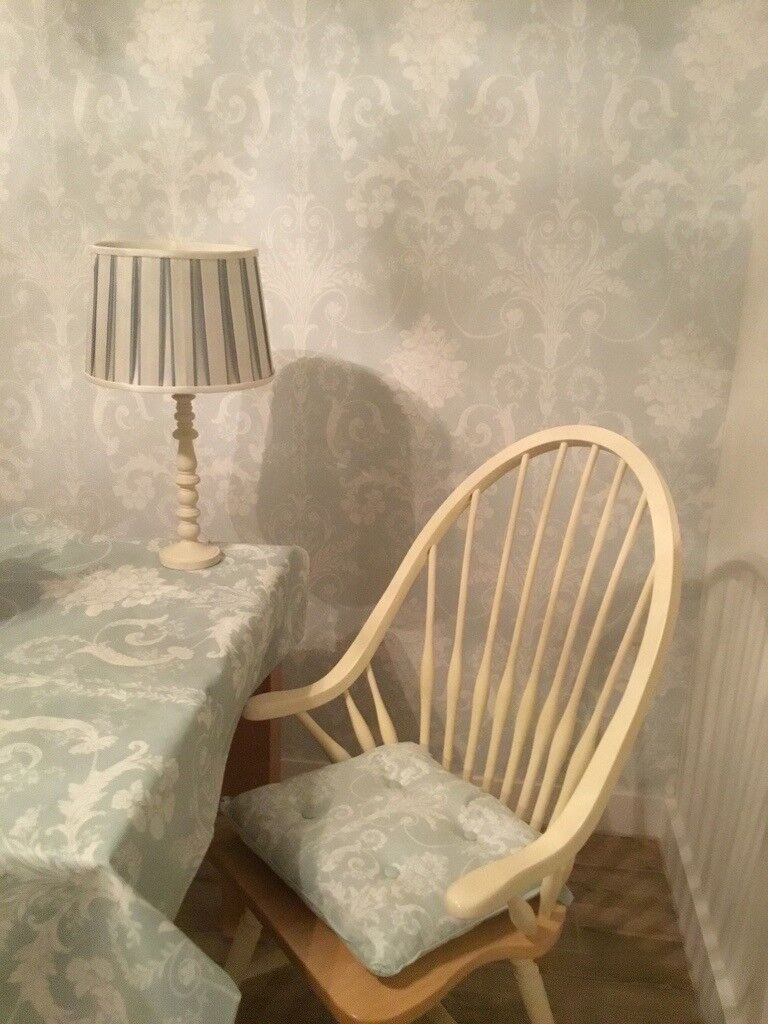 Laura Ashley Josette Duck Egg 6 Dining Chair Seat Pads And Matching Lamp