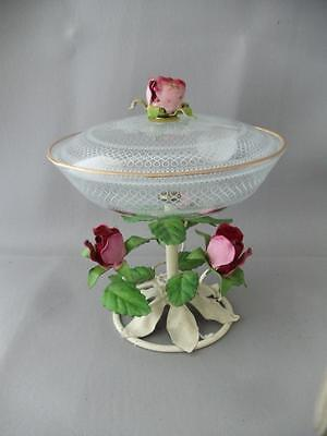 SHABBY VTG CHIC ITALIAN TOLE ROSES & LACE GLASS COMPOTE DISH BOWL CENTERPIECE
