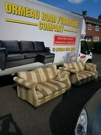2×2 cream and gold stripe sofas . (Filled with duck feathers)