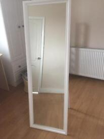 Free standing white tall mirror