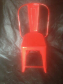 Red Metal Industrial Style Stool