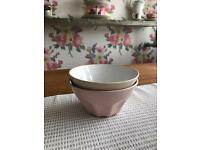 Ikea Bowls X2 One Pink One Beige