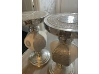 Set of silver glitter tables