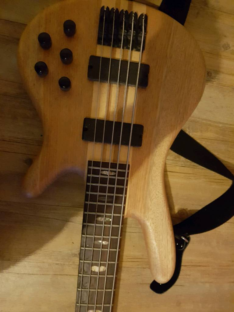 QUINCY WOOD DESIGN ACTIVE 5 STRING BASS (VERY GOOD CONDITION)