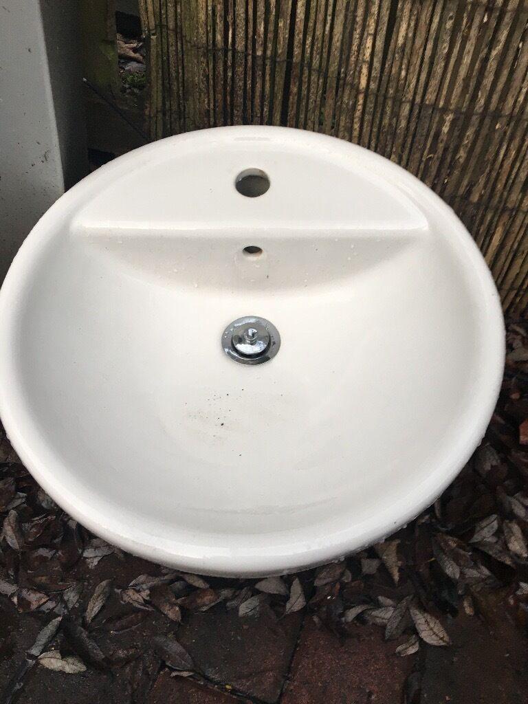 Ikea round countertop counter top bathroom basin sink tornviken £25