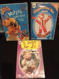 3 childrens DVD's new