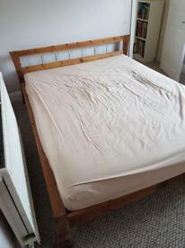 Wooden bed with mattress for sale