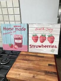 Pair of Strawberry Kitchen Canvas Pictures