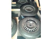 4x Continental Tyres And Steel Wheels