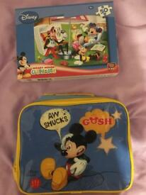 Mickey Mouse puzzle and lunch bag.