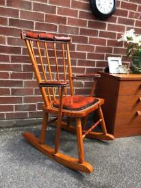 Ercol Style Rocking Chair Brown Leather Chesterfield Studded Detail Pine Wood Vintage Cottage