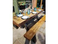 Bespoke wooden table and benches
