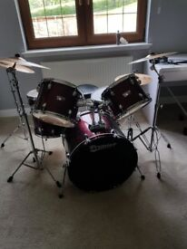 Premier Olympic Stage 20 In Complete Drum Kit, Wine Red Wrap+ Sabian B8 Cymbals