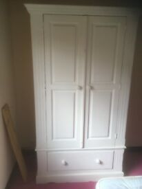Wardrobe for sale , pine painted chalk white , 41W x 22 D x 75 inches high .