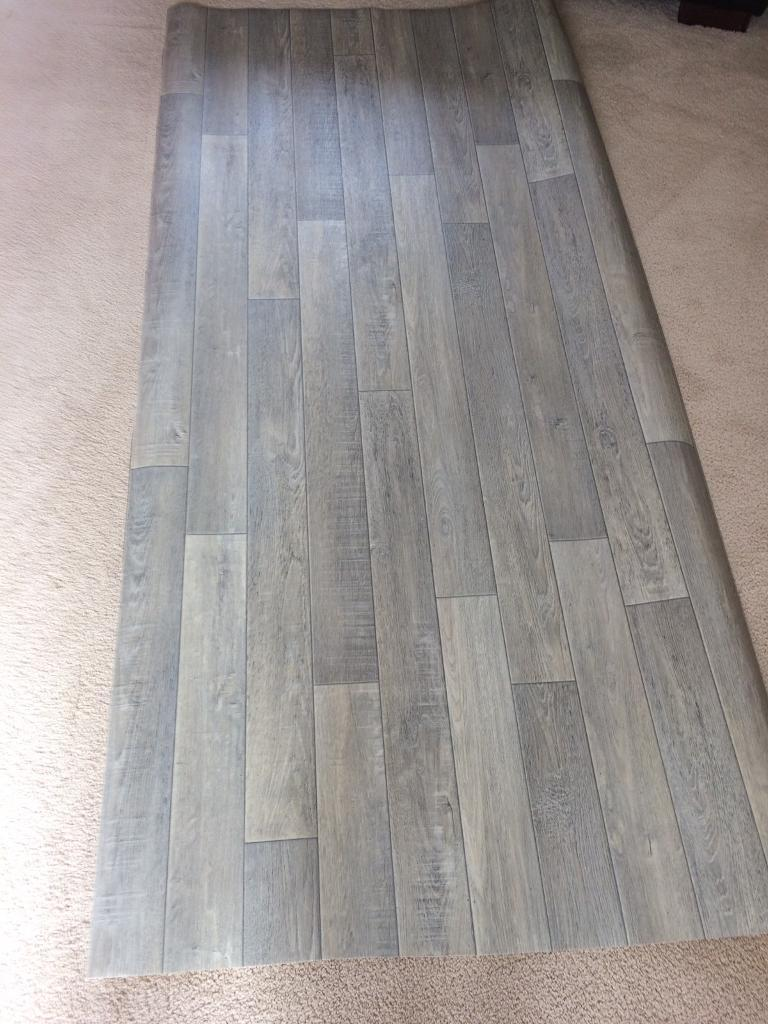 Brand new grey wood effect lino 3ft 4 x7ft in houghton for Lino flooring wood effect