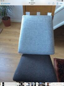 Chair Seats x 4. Light Grey. For Oak Furniture Chairs.
