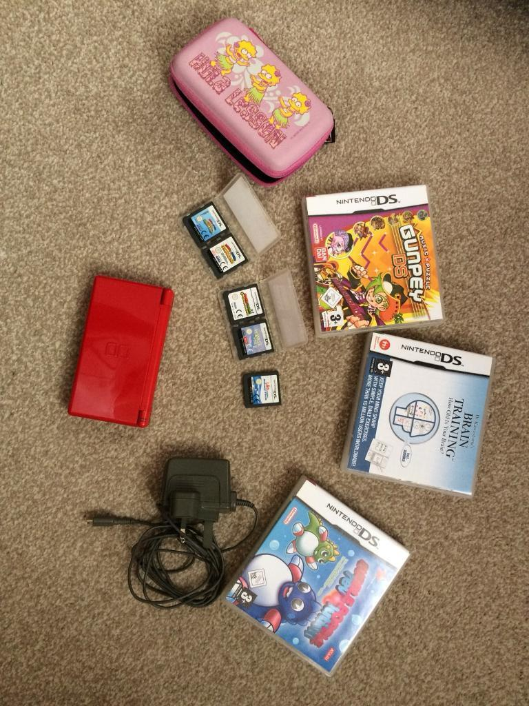 Red Nintendo DS Lite with 8 Games