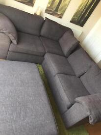 Large corner fabric sofa and footrest!!!
