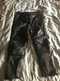 Leather bike trousers
