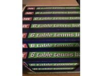 Table tennis balls. 23 boxes of 6 balls in each box available.