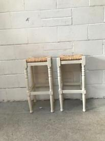 Pair of wooden framed rush top bar stools