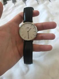 Daniel Wellington Sheffield Men's Black Leather Strap Watch