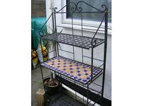 Wrought Iron Shelving Stand, can be folded flat