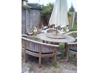 Patio Dining Set Bramble Crest Teak Banana Bench with 3 chairs