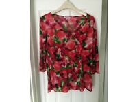 Red Floral Per Una Top - size 18