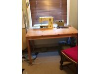 Small Plain Pine Dining Table and Two Chairs