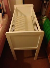 White crib can include mattress if needed